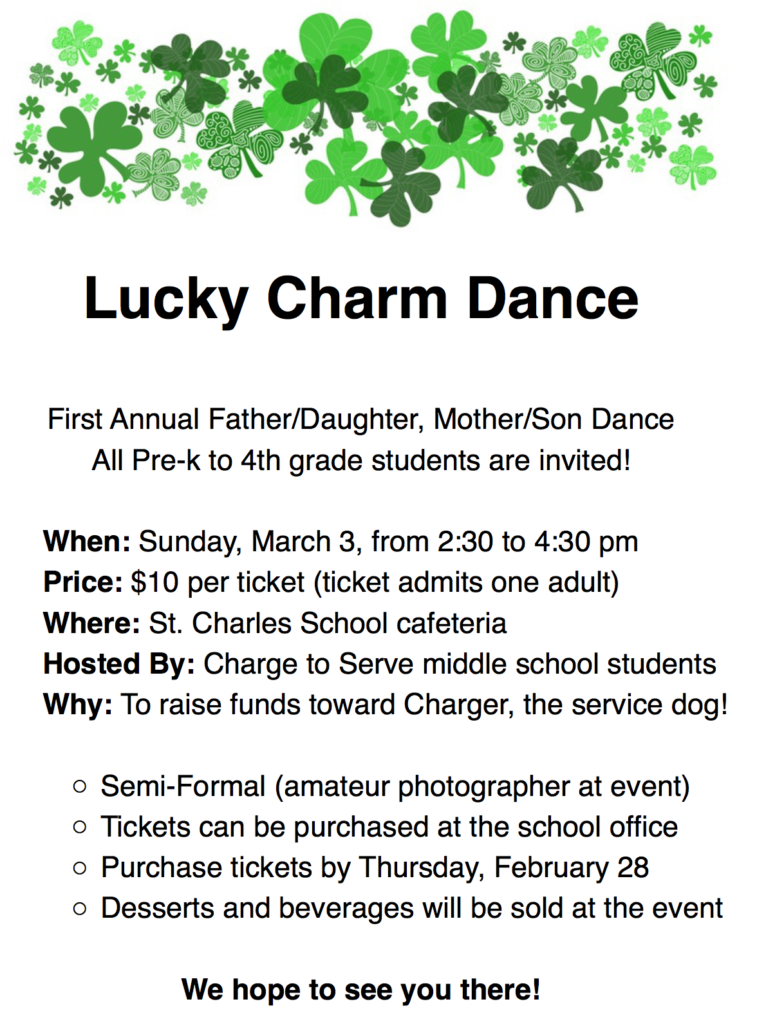 Lucky Charm Dance on Sunday, March 3 - St  Charles Catholic School